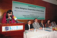 Barrister Rizwana Yusuf, Director Administration of the Institute, presenting her key note paper at the seminar on 'Inter-Religious Cooperation in Peace Making', jointly organized by the Embassy of the Republic of Italy and the Institute of Hazrat Mohammad (SAW).
