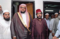 Executive Director of the Institute, Ahmad Shafi Maqsood (right) with the Respectable Imam of Masjid E Nabawi, during the Imam's visit at the Institute of Hazrat Mohammad (SAW)